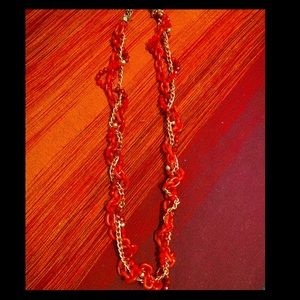 Chunky long red necklace
